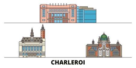 Belgique, Charleroi télévision landmarks vector illustration. Belgique, Charleroi line city avec de célèbres sites de voyage, design skyline. Vecteurs