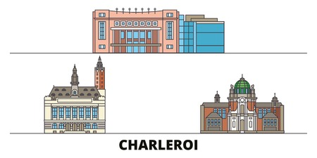 Belgium, Charleroi flat landmarks vector illustration. Belgium, Charleroi line city with famous travel sights, design skyline. Banque d'images - 119233872