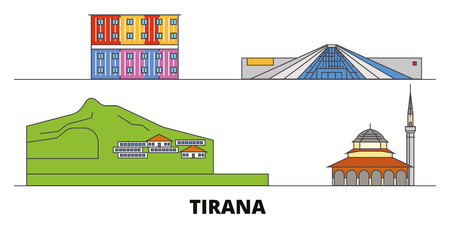 Albania, Tirana flat landmarks vector illustration. Albania, Tirana line city with famous travel sights, design skyline.