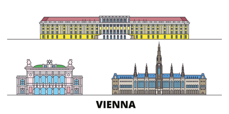 Austria, Vienna flat landmarks vector illustration. Austria, Vienna line city with famous travel sights, design skyline.
