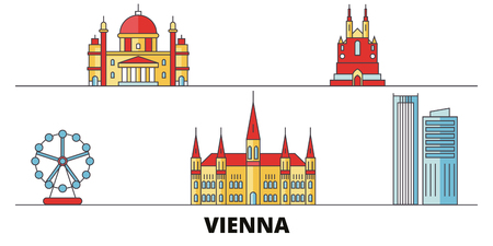 Austria, Vienna City flat landmarks vector illustration. Austria, Vienna City line city with famous travel sights, design skyline.