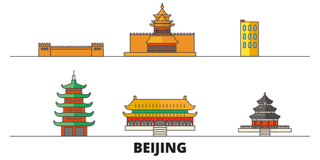 China, Beijing flat landmarks vector illustration. China, Beijing line city with famous travel sights, design skyline.