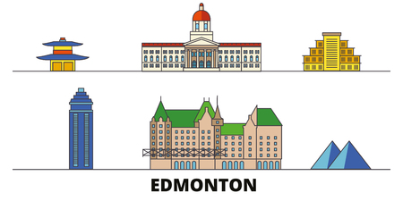 Canada, Edmonton flat landmarks vector illustration. Canada, Edmonton line city with famous travel sights, design skyline. Illustration
