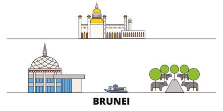 Brunei flat landmarks vector illustration. Brunei line city with famous travel sights, design skyline.