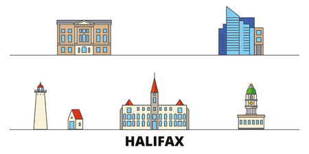 Canada, Halifax flat landmarks vector illustration. Canada, Halifax line city with famous travel sights, design skyline.