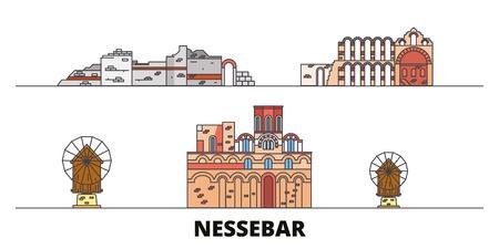 Bulgaria, Nessebar flat landmarks vector illustration. Bulgaria, Nessebar line city with famous travel sights, design skyline.