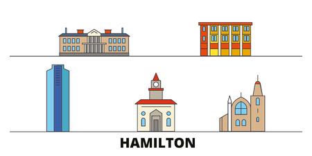 Canada, Hamilton flat landmarks vector illustration. Canada, Hamilton line city with famous travel sights, design skyline.