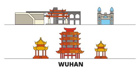 China, Wuhan flat landmarks vector illustration. China, Wuhan line city with famous travel sights, design skyline. Illustration