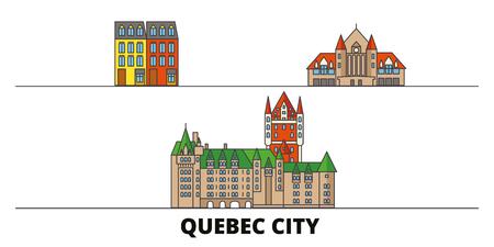 Canada, Quebec City flat landmarks vector illustration. Canada, Quebec City line city with famous travel sights, design skyline. Illustration