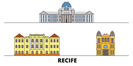 Brazil , Recife flat landmarks vector illustration. Brazil , Recife line city with famous travel sights, design skyline. Imagens - 119234235