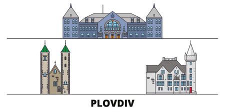 Bulgaria, Plovdiv flat landmarks vector illustration. Bulgaria, Plovdiv line city with famous travel sights, design skyline. Standard-Bild - 119234246