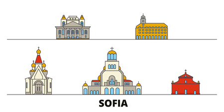 Bulgaria, Sofia flat landmarks vector illustration. Bulgaria, Sofia line city with famous travel sights, design skyline.