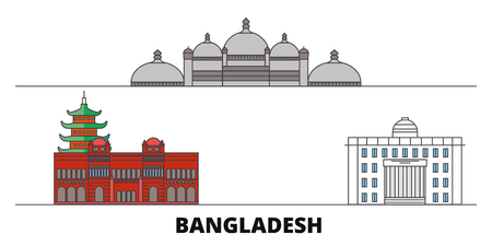 Bangladesh, Chittagong flat landmarks vector illustration. Bangladesh, Chittagong line city with famous travel sights, design skyline.
