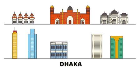 Bangladesh, Dhaka flat landmarks vector illustration. Bangladesh, Dhaka line city with famous travel sights, design skyline.