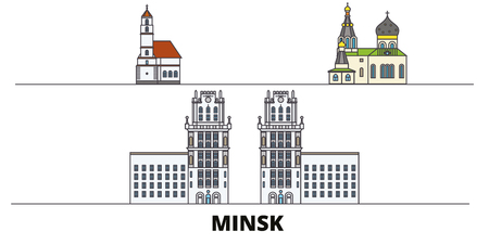 Belarus, Minsk flat landmarks vector illustration. Belarus, Minsk line city with famous travel sights, design skyline.  イラスト・ベクター素材