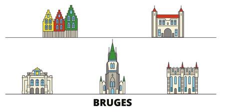 Belgium, Bruges flat landmarks vector illustration. Belgium, Bruges line city with famous travel sights, design skyline. Illustration