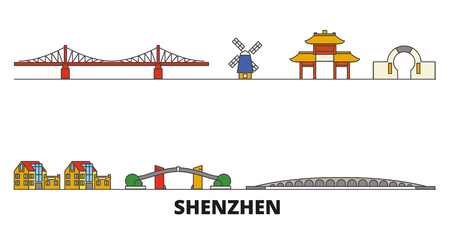 China, Shenzhen flat landmarks vector illustration. China, Shenzhen line city with famous travel sights, design skyline. Illustration
