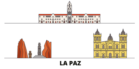Bolivia , La Paz flat landmarks vector illustration. Bolivia , La Paz line city with famous travel sights, design skyline.
