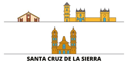 Bolivia, Santa Cruz De La Sierra flat landmarks vector illustration. Bolivia, Santa Cruz De La Sierra line city with famous travel sights, design skyline. 일러스트