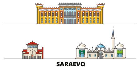 Bosnia And Herzegovina, Saraevo flat landmarks vector illustration. Bosnia And Herzegovina, Saraevo line city with famous travel sights, design skyline. Stock Illustratie
