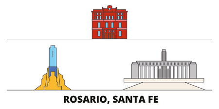 Argentina, Rosario flat landmarks vector illustration. Argentina, Rosario line city with famous travel sights, design skyline.