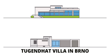 Czech Republic, Brno, Tugendhat Villa flat landmarks vector illustration. Czech Republic, Brno, Tugendhat Villa line city with famous travel sights, design skyline.