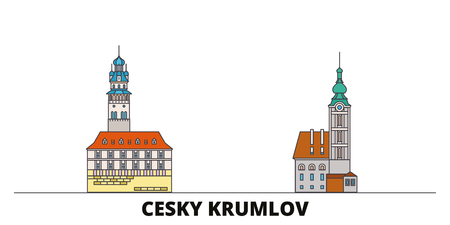 Czech Republic, Cesky Krumlov flat landmarks vector illustration. Czech Republic, Cesky Krumlov line city with famous travel sights, design skyline.