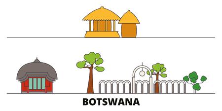 Botswana flat landmarks vector illustration. Botswana line city with famous travel sights, design skyline.
