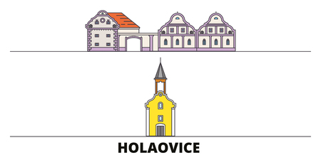Czech Republic, Holasovice flat landmarks vector illustration. Czech Republic, Holasovice line city with famous travel sights, design skyline. Stock Illustratie