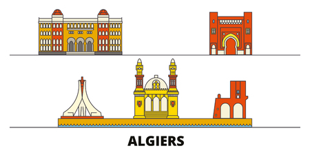 Algiers flat landmarks vector illustration. Algiers line city with famous travel sights, design skyline. Ilustrace