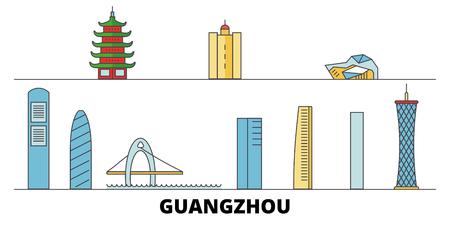 China, Guangzhou City flat landmarks vector illustration. China, Guangzhou City line city with famous travel sights, design skyline. Illustration