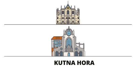 Czech Republic, Kutna Hora flat landmarks vector illustration. Czech Republic, Kutna Hora line city with famous travel sights, design skyline.