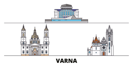 Bulgaria, Varna flat landmarks vector illustration. Bulgaria, Varna line city with famous travel sights, design skyline. Иллюстрация