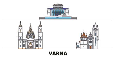 Bulgaria, Varna flat landmarks vector illustration. Bulgaria, Varna line city with famous travel sights, design skyline. Illustration