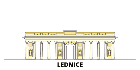 Czech Republic, Lednice flat landmarks vector illustration. Czech Republic, Lednice line city with famous travel sights, design skyline. Illusztráció