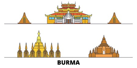 Burma flat landmarks vector illustration. Burma line city with famous travel sights, design skyline. Stock Illustratie