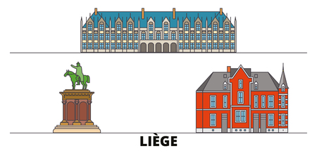 Belgium, Liege flat landmarks vector illustration. Belgium, Liege line city with famous travel sights, design skyline. Banque d'images - 119234757