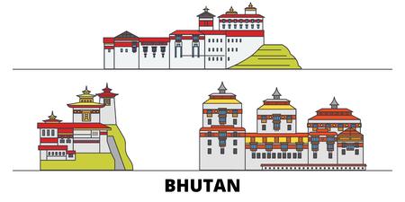 Bhutan flat landmarks vector illustration. Bhutan line city with famous travel sights, design skyline. Illustration