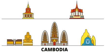 Cambodia flat landmarks vector illustration. Cambodia line city with famous travel sights, design skyline.