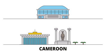 Cameroon flat landmarks vector illustration. Cameroon line city with famous travel sights, design skyline.