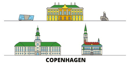Denmark, Copenhagen flat landmarks vector illustration. Denmark, Copenhagen line city with famous travel sights, design skyline.