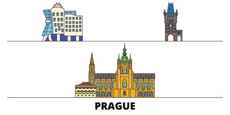 Czech Republic, Prague City flat landmarks vector illustration. Czech Republic, Prague City line city with famous travel sights, design skyline.