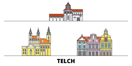 Czech Republic, Telc flat landmarks vector illustration. Czech Republic, Telc line city with famous travel sights, design skyline. Stock Illustratie