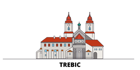 Czech Republic, Trebic flat landmarks vector illustration. Czech Republic, Trebic line city with famous travel sights, design skyline.