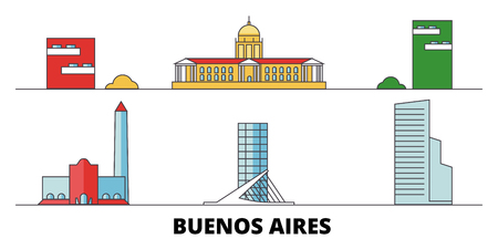 Argentina, Buenos Aires City flat landmarks vector illustration. Argentina, Buenos Aires City line city with famous travel sights, design skyline. Иллюстрация