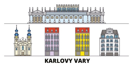 Czech Republic, Karlovy Vary flat landmarks vector illustration. Czech Republic, Karlovy Vary line city with famous travel sights, design skyline. Stock Illustratie