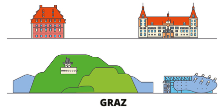 Austria, Graz flat landmarks vector illustration. Austria, Graz line city with famous travel sights, design skyline.