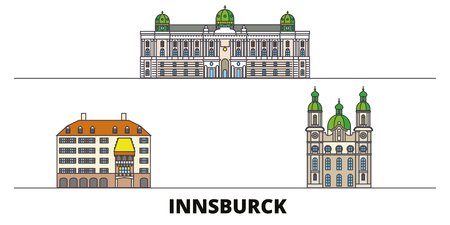 Austria, Innsburck flat landmarks vector illustration. Austria, Innsburck line city with famous travel sights, design skyline. Ilustração