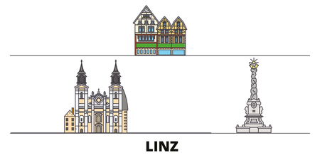 Austria, Linz flat landmarks vector illustration. Austria, Linz line city with famous travel sights, design skyline.