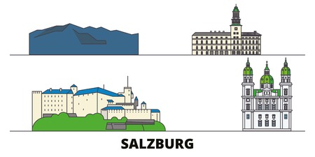 Austria, Salzburg flat landmarks vector illustration. Austria, Salzburg line city with famous travel sights, design skyline.